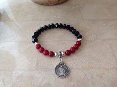Black and Red San Benito Bracelet  by DreamFashionJewelry on Etsy
