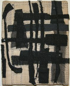 'Grid' (2011) by artist Carol Lee Shanks. Stitched cloth remains onto hemp, 8 x 10 in. source: Cecile Moochnek Gallery. via Art Propelled