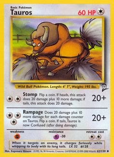 Pokemon - Tauros - Jungle - Edition: A single individual card from the Pokemon trading and collectible card game (TCG/CCG). This is of Uncommon rarity. From the Jungle set. You will receive the Edition version of this card. Pokemon Toy, Cool Pokemon, All Pokemon Cards, Pokemon Website, Wild Bull, Wallpaper Crafts, Ancient Greek Words, Popular Pokemon, Pokemon Collection