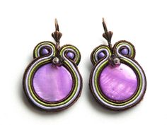 Orchid   soutache earrings by Bajobongo on Etsy, $17.00