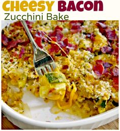 Seasoned zucchini tossed with onions, & garlic, topped with mixed cheeses, breadcrumbs, bacon and baked to a golden, cheesy perfection!