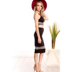 Black sleeveless spaghetti strap crop top two piece party dress ($11) ❤ liked on Polyvore featuring dresses, black, sleeveless pencil dress, sleeveless long dress, sleeveless cocktail dress, two piece cocktail dresses and long dresses