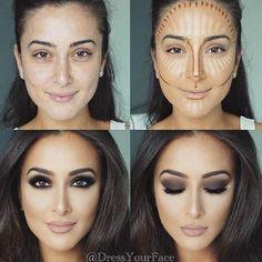 Konturieren, Hervorheben und Backen in Ihrem Make-up - Makeup Contour Highlighter Makeup, Skin Makeup, Makeup Brushes, Highlighters, Brown Eyes Makeup, Cat Makeup, Eye Brushes, Body Makeup, Makeup Set