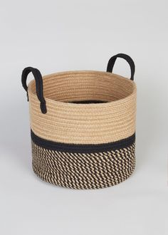 Round Storage Basket x x – Natural – Matalan Big Basket, Rope Basket, Basket Weaving, Blanket Basket, Modern Baskets, Rope Art, Rope Crafts, Home Decor Uk, Room Accessories