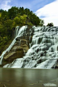 Ithaca Falls in Ithaca, New York has an easy trail that is open year round.