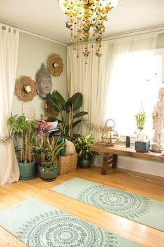 home zen yoga roomLOVE the light curtains bench under the window, cluster of plants, and mirrors on walls. No Buddha, though.Remove the flowers/butterflies and paint the walls grey. Love the yoga matsInterior: Yoga Room Decor New Studio Etsy Regarding 4 f Yoga Studio Design, Yoga Room Design, Yoga Studio Home, Yoga Studio Decor, Yoga Studio Interior, Room Interior, Home Yoga Room, Yoga Room Decor, Meditation Room Decor
