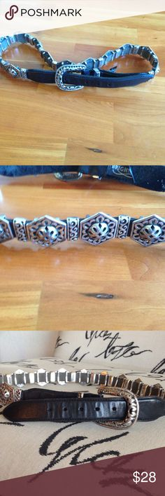 Vintage 1995 Brighton belt Beautiful belt lots of silver 12 medallions very rare Brighton belt measures 34 inches end to end Brighton Accessories Belts