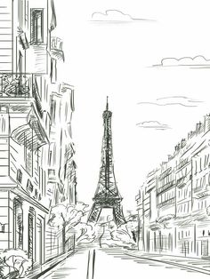 - perspective/ scale - 3D - straight lines, geometric - focus on Eiffel Tower (darker lines) - softer/ lighter cloud lines - reminds me of a fashion sketch (fashion= Paris) - exploration, inspiration, traveler