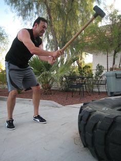 Chris loves sledge hammer swings!