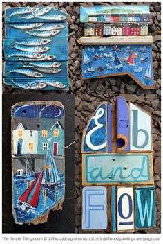 Lizzie Spikes driftwood paintings image
