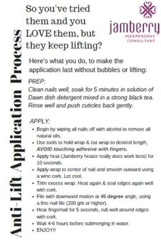 To help avoid lifting, give this a try. http://pattidunford.jamberry.com/shop