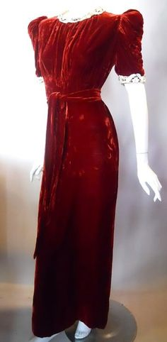 Persimmon Silk Velvet Dress with Lace Collar circa 1930s