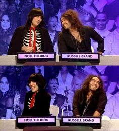 Noel Fielding and Russell Brand - Big Fat Quiz of the Year <Best show so funny Funny Picture Quotes, Funny Photos, Funny People, People Like, 8 Out Of 10 Cats, Mock The Week, Julian Barratt, Fat Burning Tea, The Mighty Boosh