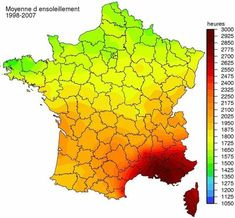 Average Sunshine in Hours per years in France - - Vivid Maps France Map, South Of France, France Travel, France Geography, Wordpress, Corsica, Alternative Energy, History Facts, Languedoc Roussillon