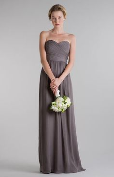 Jenny Yoo Collection, slate colored silk chiffon bridesmaid dress (Margaux) not usually a fan of long dresses but I like this!