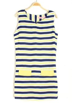 Multicolor Striped Patchwork Double Pockets V-neck Chiffon Dress