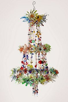 crazy colour - reclaimed trinkets transformed into a bonkers chandelier