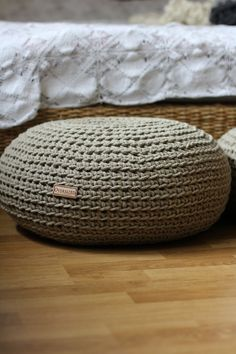 Sustainable Linen Pouf, filled with Organic Buckwheat Hulls, yoga pillow, meditation cushion, ottoman, crochet pouf, yoga rolster, eco - pinned by pin4etsy.com