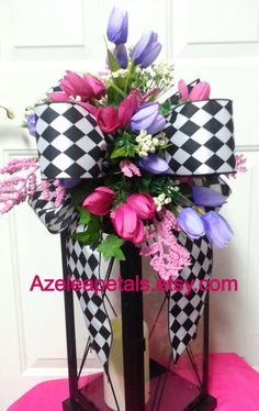 Spring Lantern Swag Pink and Purple Swag Black and by Azeleapetals, $29.99