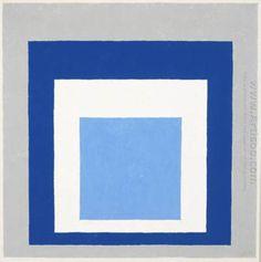 Homenaje al cuadrado: Azul, Blanco, Gris - Pintura al óleo