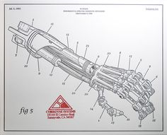 Terminator Arm --interesting bit of old-school styled drafintg Cyberpunk, T 800 Terminator, Science Fiction, Robot Hand, Bat Robot, Print Release, Patent Drawing, Armor Concept, Robot Design