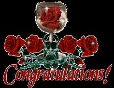 Engagement Congratulations Posters | Congratulations With Wine Glass And Rose Flowers