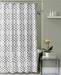 Geometric Patterned Shower Curtain 72-inch By 72-inch- WHITE/ GREY Ruthy's Textile