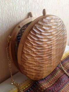 Wooden Bag, Wooden Toys, Ethnic Bag, Round Bag, Wood Rounds, Leather Bags Handmade, Cute Bags, Wood Turning, Clutch Wallet