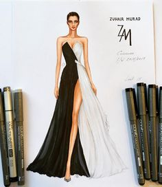 54 Trendy Fashion Drawing Sketches Dresses Black White This image has g. Dress Design Sketches, Fashion Design Sketchbook, Fashion Design Portfolio, Fashion Design Drawings, Fashion Sketches, Drawing Sketches, Drawing Style, Sketch Art, Model Sketch
