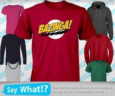 Bazinga - big bang t shirt theory tv show tee sheldon cooper geek t-shirt nerd tshirt on Etsy, 9,59€