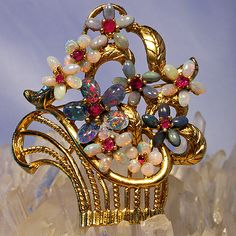Large Floral Brooch - Nate Waxman (Assorted Opal and Ruby)