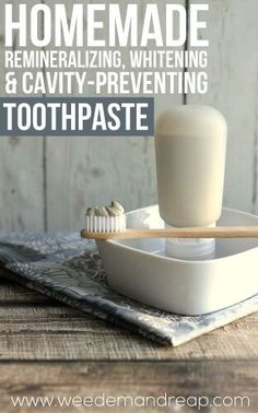 You can't always count on conventional toothpaste for remineralizing and whitening. Here's a toothpaste recipe for one that does just that! https://www.weedemandreap.com/diy-toothpaste-recipe/