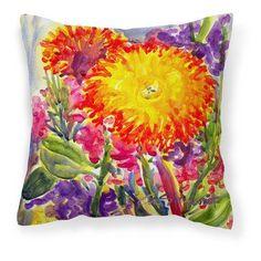 Carolines Treasures Aster Flower Decorative Outdoor Pillow - 6077PW1414