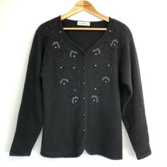 Vintage St Michael Black Sequined Cardigan Lambswool, Angora & Nylon Mix Beaded detail to the front Button fastening to the front Shoulder pads which are easily removable Vintage UK Size 16 More a Modern size 14 Excellent condition St Michael, Online Price, Size 14, Retro Vintage, Blouse, Cosy, Knits, Sweaters, Women