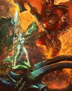 Age of Sigmar artwork   Aelfs   Alarielle vs Bloodthirster artwork #Warhammer…