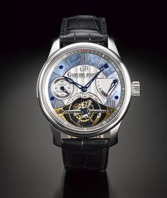 Greubel Forsey platinum double tourbillon wristwatch with 72-hour power reserve and mother-of-pearl dial