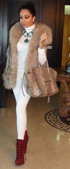Faux fur vest on winter white