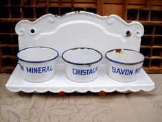 Antique french white enamel laundry cleaning set by sissidavril