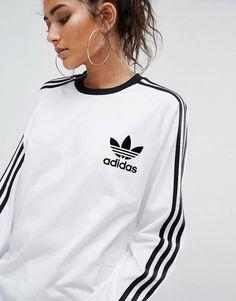 3fae27d1a adidas Originals White Three Stripe Long Sleeve T-Shirt