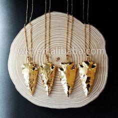 WT-N477 Großhandel voll gold getaucht Achat Jaspis Stein Halskette in 24 Karat…