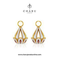 Dangling Dam Diamond Gold Earrings  Earrings which suits your style #Jadau #Jewelry # #jewelrygram  #beautiful  #gold #jewelryaddict #jewelryjunkie #diamond  #colorful #love #like #romeo #stonejewelry #jewel #like4like #jewellery #design #designerjewelry #snow #bejeweled #gems #gemtherapy #life #amethyst #emerald  #picoftheday www.charujewelsonline.com