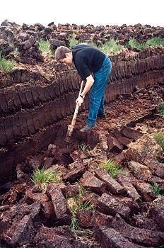 Peat Cutting. Barnatal, County Mayo, Ireland. Peat when Dried is Used in Fireplaces and Stoves for Heating an Cooking.