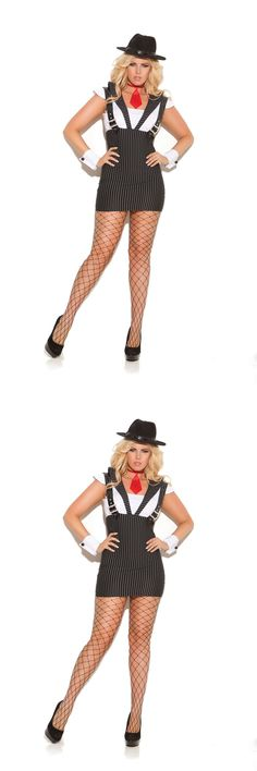 Costume GangsterMobster Pluse Size: Plus Size Machine Gun Greta - 3 Pc Costume Includes Dress With Attached Suspenders, Tie And Wrist Cuffs Black Striped BUY IT NOW ONLY: $40.99