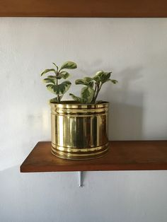vintage hollywood regency brass faceted planter. 1970s by Mamakea