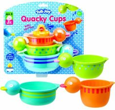 Alex Jr. Tub Joy Quacky Cups Bath Toy (Colors may Vary) by Alex Jr.. $10.25. From the Manufacturer                Stack, drain and squirt. Perfectly sized heads make gripping easy for little hands. Cups drizzle and drain. Includes 3 cups, 1 squirter. The tub joy series of toys are made just for baby. Ages 6 months and above.                                    Product Description                Stack, drain and squirt! Perfectly sized heads make gripping easy for little hands....
