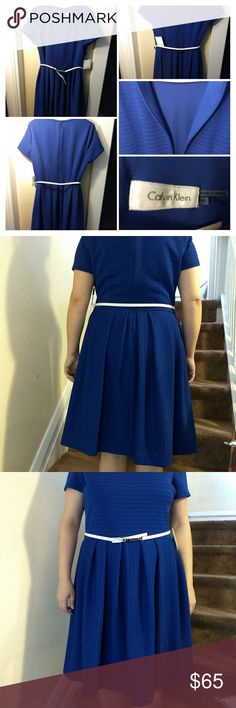 NWT! Calvin Klein dress blue size 14 Calvin Klein Dress  size 14 color atl Atlantis blue New with tags.  Model in the pictures is  5'2 so if you are taller it might fall a little higher  Approx measurements: length: 39' waist 34' bust 42 Calvin Klein Dresses Midi