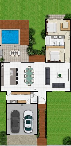 Arqui New House Plans, Dream House Plans, Modern House Plans, Small House Plans, House Floor Plans, Home Design Floor Plans, Home Room Design, House Design, L Shaped House