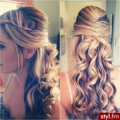 Half pulled back curly long hair. | Hair and makeup | Pinterest