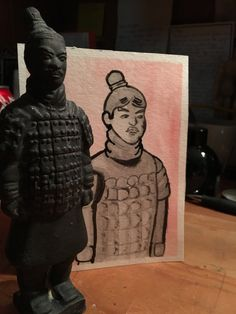 Stone Terracotta Soldier Antique Ink Painting, Original 4.5 × 6 inch ink and watercolor painting by TinyThreadThings on Etsy