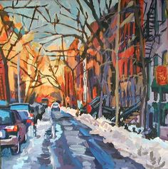 "8""x8"" Print Winter Street  New York City Painting  gold orange blue  Manhattan."